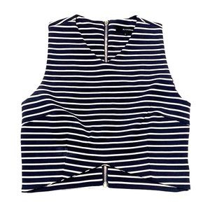 Crop Top (Navy with White Stripes)